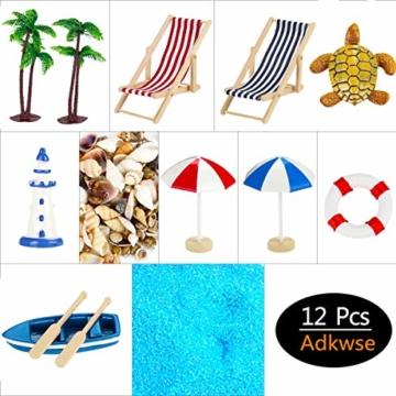 Adkwse Strand-Mikrolandschaft Mini Liegestuhl Sonnenschirm Palme Strand Deko DIY Geldgeschenk Reise Schildkröten Zubehör - 5