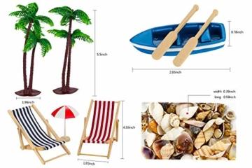 Adkwse Strand-Mikrolandschaft Mini Liegestuhl Sonnenschirm Palme Strand Deko DIY Geldgeschenk Reise Schildkröten Zubehör - 6