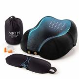 AIRTH® Reise-Nackenkissen Nackenhörnchen aus Memory-Schaum, ergonomisch stützend Dank Memory-Foam   Premium Reisekissen - 1