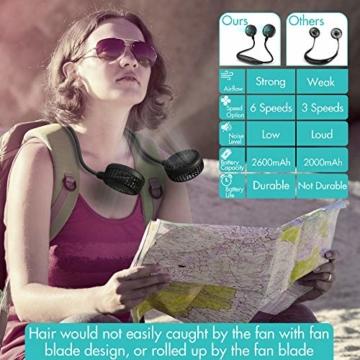Amacool Nackenventilator, 2600 mAh Batteriebetrieben Mit Nackenband und 6 Geschwindigkeiten Tragbar USB-Ventilator für Heimbüro Reisen Outdoor Sport (Schwarz) - 2