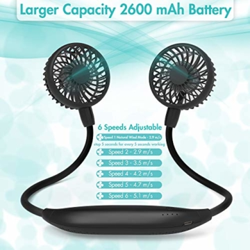 Amacool Nackenventilator, 2600 mAh Batteriebetrieben Mit Nackenband und 6 Geschwindigkeiten Tragbar USB-Ventilator für Heimbüro Reisen Outdoor Sport (Schwarz) - 3