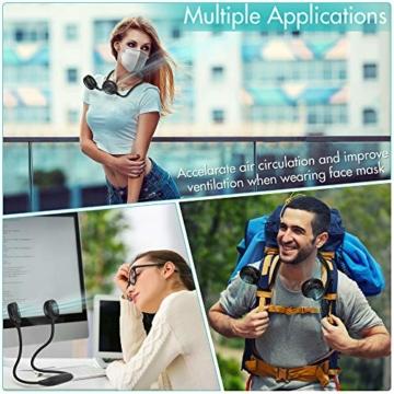 Amacool Nackenventilator, 2600 mAh Batteriebetrieben Mit Nackenband und 6 Geschwindigkeiten Tragbar USB-Ventilator für Heimbüro Reisen Outdoor Sport (Schwarz) - 8