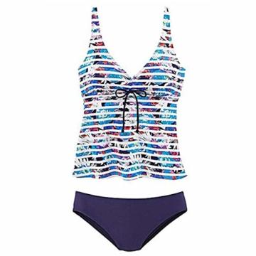 AMUSTER Tankinis Damen Bikini Set Streifen Zweiteilig Bademode Damen Große Größen Strand Bikini Oberteile + Höschen - 2