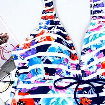 AMUSTER Tankinis Damen Bikini Set Streifen Zweiteilig Bademode Damen Große Größen Strand Bikini Oberteile + Höschen - 4
