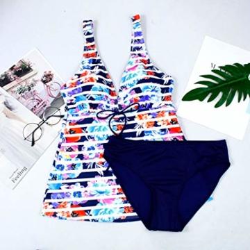 AMUSTER Tankinis Damen Bikini Set Streifen Zweiteilig Bademode Damen Große Größen Strand Bikini Oberteile + Höschen - 6