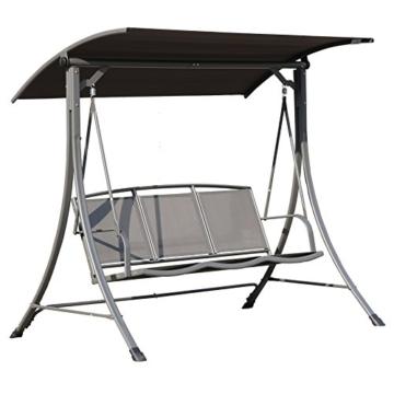 Angel Living 5869200 Hollywoodschaukel Gartenschaukel 3 Sitzer mit Sonnenschutz aus Stahl,Polyester - 2