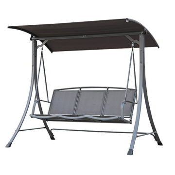 Angel Living 5869200 Hollywoodschaukel Gartenschaukel 3 Sitzer mit Sonnenschutz aus Stahl,Polyester - 1