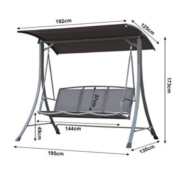 Angel Living 5869200 Hollywoodschaukel Gartenschaukel 3 Sitzer mit Sonnenschutz aus Stahl,Polyester - 5