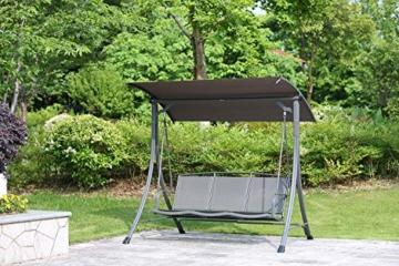 Angel Living 5869200 Hollywoodschaukel Gartenschaukel 3 Sitzer mit Sonnenschutz aus Stahl,Polyester - 6