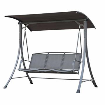 Angel Living 5869200 Hollywoodschaukel Gartenschaukel 3 Sitzer mit Sonnenschutz aus Stahl,Polyester - 8