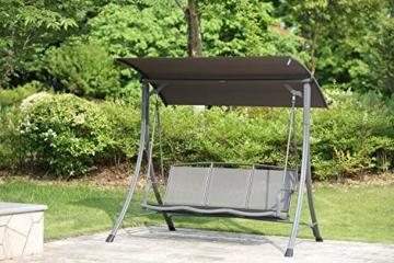 Angel Living 5869200 Hollywoodschaukel Gartenschaukel 3 Sitzer mit Sonnenschutz aus Stahl,Polyester - 9