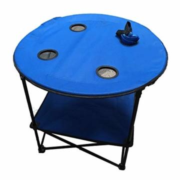 Anglertisch Klapptisch Campingtisch Tisch Koffertisch Strandtisch (Tisch rund), Farbe:Gruen - 2