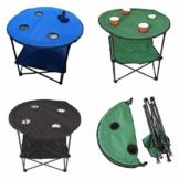 Anglertisch Klapptisch Campingtisch Tisch Koffertisch Strandtisch (Tisch rund), Farbe:Gruen - 1