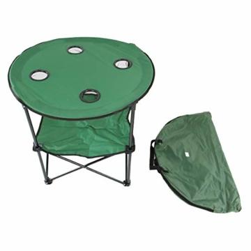 Anglertisch Klapptisch Campingtisch Tisch Koffertisch Strandtisch (Tisch rund), Farbe:Gruen - 7