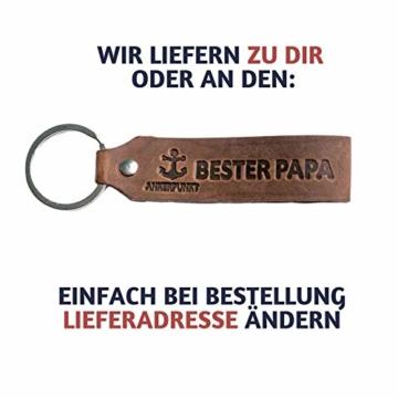 ANKERPUNKT Schlüsselanhänger Leder mit Gravur Bester Papa - Vatertagsgeschenk - Geschenke für Papa - Geschenkidee zum Geburtstag Vatertag - Made in Germany (Dunkelbraun) Used Look - 2