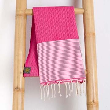 ANNA ANIQ Fouta Hamamtuch Saunatuch XXL Extra Groß 197 x 100cm - 100% gekämmte Baumwolle aus Tunesien als Strandtuch, orientalisches Bade-Tuch, Yoga-Decke, Pestemal, Strand-Handtuch (Pink) - 2