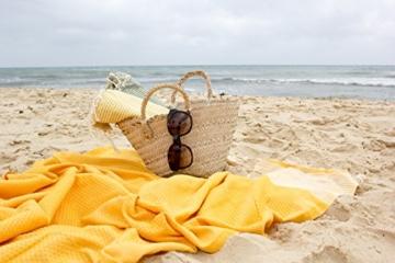 ANNA ANIQ Fouta Hamamtuch Saunatuch XXL Extra Groß 197 x 100cm - 100% gekämmte Baumwolle aus Tunesien als Strandtuch, orientalisches Bade-Tuch, Yoga-Decke, Pestemal, Strand-Handtuch (Pink) - 3