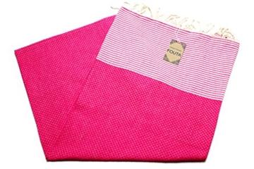 ANNA ANIQ Fouta Hamamtuch Saunatuch XXL Extra Groß 197 x 100cm - 100% gekämmte Baumwolle aus Tunesien als Strandtuch, orientalisches Bade-Tuch, Yoga-Decke, Pestemal, Strand-Handtuch (Pink) - 4