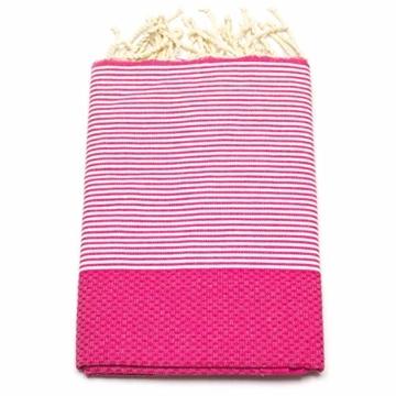 ANNA ANIQ Fouta Hamamtuch Saunatuch XXL Extra Groß 197 x 100cm - 100% gekämmte Baumwolle aus Tunesien als Strandtuch, orientalisches Bade-Tuch, Yoga-Decke, Pestemal, Strand-Handtuch (Pink) - 1