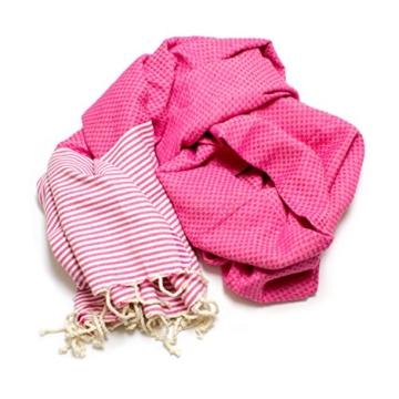 ANNA ANIQ Fouta Hamamtuch Saunatuch XXL Extra Groß 197 x 100cm - 100% gekämmte Baumwolle aus Tunesien als Strandtuch, orientalisches Bade-Tuch, Yoga-Decke, Pestemal, Strand-Handtuch (Pink) - 5