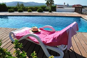 ANNA ANIQ Fouta Hamamtuch Saunatuch XXL Extra Groß 197 x 100cm - 100% gekämmte Baumwolle aus Tunesien als Strandtuch, orientalisches Bade-Tuch, Yoga-Decke, Pestemal, Strand-Handtuch (Pink) - 6
