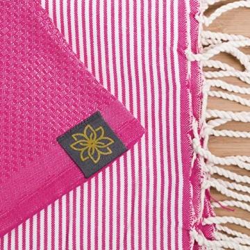 ANNA ANIQ Fouta Hamamtuch Saunatuch XXL Extra Groß 197 x 100cm - 100% gekämmte Baumwolle aus Tunesien als Strandtuch, orientalisches Bade-Tuch, Yoga-Decke, Pestemal, Strand-Handtuch (Pink) - 7