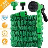 AODOOR Flexibler Gartenschlauch, Flexibel Gartenschlauch Flexi Wasserschlauch Dehnbarer Flexischlauch Ausdehnbar mit 7 Funktionsspray Flexible Dehnbar für Gartenarbeit Reinigung, Grün (7.5M/25FT) - 1