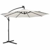 Arebos Sonnenschirm mit LED Gartenschirm, Terrassenschirm, Balkonschirm, Ampelschirm mit Kurbel aufklappbar in Rot, Grün, Creme oder Anthrazit (wählbar) (Creme) - 1