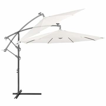 Arebos Sonnenschirm mit LED Gartenschirm, Terrassenschirm, Balkonschirm, Ampelschirm mit Kurbel aufklappbar in Rot, Grün, Creme oder Anthrazit (wählbar) (Creme) - 3