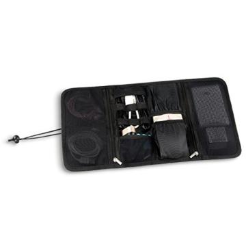 Arvok Elektronik Organizer Zubehör Klein Tasche Reise Tragbare Reisetasche Aufbewahrungstasche Festplattentasche Reisekoffer Kosmetiktasche Schutzhülle für Festplatten Kabel USB-Sticks, Schwarz - 6