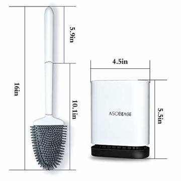 ASOBEAGE Toilettenbürste,WC-Bürste und Behälter,Toilettenbürsten für Badezimmer mit schnell trocknendem Haltersatz(Weiß) - 3