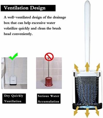ASOBEAGE Toilettenbürste,WC-Bürste und Behälter,Toilettenbürsten für Badezimmer mit schnell trocknendem Haltersatz(Weiß) - 4