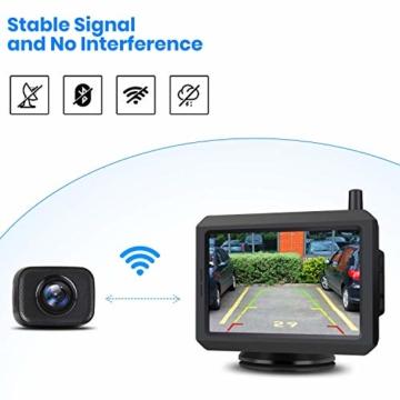 AUTO-VOX W7 Kabellos Digital Rückfahrkamera Set mit 12.7cm LCD-Monitor mit Antenne, eingebautem Funksender, Wireless Einparkhilfe,Wasserdicht IP68-Backup-AutoKamera, Nachtsicht für SUV,Van,KfZ - 3