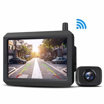 AUTO-VOX W7 Kabellos Digital Rückfahrkamera Set mit 12.7cm LCD-Monitor mit Antenne, eingebautem Funksender, Wireless Einparkhilfe,Wasserdicht IP68-Backup-AutoKamera, Nachtsicht für SUV,Van,KfZ - 1