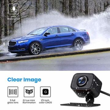 AUTO-VOX W7 Kabellos Digital Rückfahrkamera Set mit 12.7cm LCD-Monitor mit Antenne, eingebautem Funksender, Wireless Einparkhilfe,Wasserdicht IP68-Backup-AutoKamera, Nachtsicht für SUV,Van,KfZ - 5