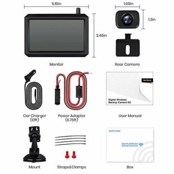 AUTO-VOX W7 Kabellos Digital Rückfahrkamera Set mit 12.7cm LCD-Monitor mit Antenne, eingebautem Funksender, Wireless Einparkhilfe,Wasserdicht IP68-Backup-AutoKamera, Nachtsicht für SUV,Van,KfZ - 6