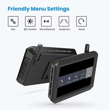 AUTO-VOX W7 Kabellos Digital Rückfahrkamera Set mit 12.7cm LCD-Monitor mit Antenne, eingebautem Funksender, Wireless Einparkhilfe,Wasserdicht IP68-Backup-AutoKamera, Nachtsicht für SUV,Van,KfZ - 7