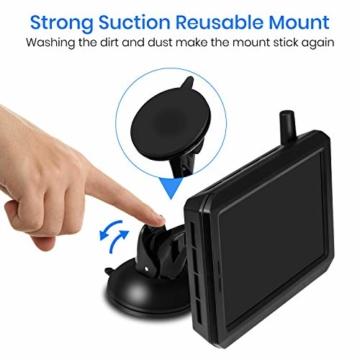 AUTO-VOX W7 Kabellos Digital Rückfahrkamera Set mit 12.7cm LCD-Monitor mit Antenne, eingebautem Funksender, Wireless Einparkhilfe,Wasserdicht IP68-Backup-AutoKamera, Nachtsicht für SUV,Van,KfZ - 8