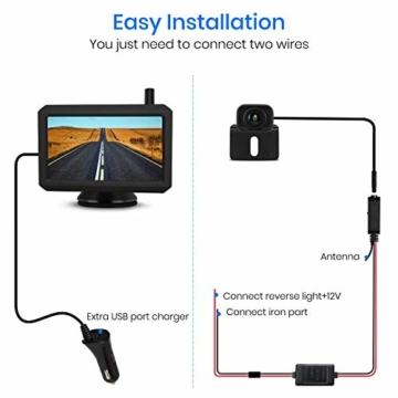 AUTO-VOX W7 Kabellos Digital Rückfahrkamera Set mit 12.7cm LCD-Monitor mit Antenne, eingebautem Funksender, Wireless Einparkhilfe,Wasserdicht IP68-Backup-AutoKamera, Nachtsicht für SUV,Van,KfZ - 9