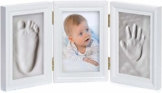 Baby Bilderrahmen Gipsabdruck-Set - Fotorahmen Gips für Hand-Abdruck Fuß-Abdruck & Fotos; 3-tlg weiß (3-teilig weiß) - 1