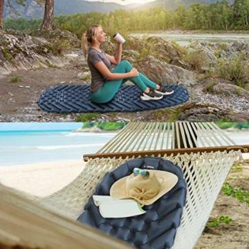 BAGLOBAL Isomatte Camping, mit aufblasbarem Beutel, leicht aufblasbar, rutschfeste wasserdichte Luftmatratze, leicht zu tragen, geeignet für Camping und Wandern im Freien(Blau) - 2