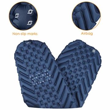 BAGLOBAL Isomatte Camping, mit aufblasbarem Beutel, leicht aufblasbar, rutschfeste wasserdichte Luftmatratze, leicht zu tragen, geeignet für Camping und Wandern im Freien(Blau) - 4