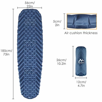 BAGLOBAL Isomatte Camping, mit aufblasbarem Beutel, leicht aufblasbar, rutschfeste wasserdichte Luftmatratze, leicht zu tragen, geeignet für Camping und Wandern im Freien(Blau) - 5