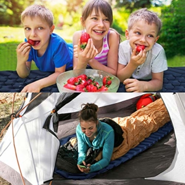 BAGLOBAL Isomatte Camping, mit aufblasbarem Beutel, leicht aufblasbar, rutschfeste wasserdichte Luftmatratze, leicht zu tragen, geeignet für Camping und Wandern im Freien(Blau) - 6