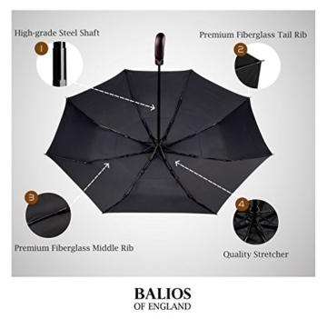 Balios® Regenschirm Mit Echtem Holzgriff -Optional   Auf Zu Automatik   Sturmfest & Windsicher   Taschenschirm Für Herren & Damen Schwarz (Designed in Britain) (Black with Luxury REAL Wood Handle) - 2