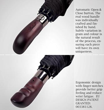 Balios® Regenschirm Mit Echtem Holzgriff -Optional | Auf Zu Automatik | Sturmfest & Windsicher | Taschenschirm Für Herren & Damen Schwarz (Designed in Britain) (Black with Luxury REAL Wood Handle) - 3