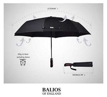 Balios® Regenschirm Mit Echtem Holzgriff -Optional | Auf Zu Automatik | Sturmfest & Windsicher | Taschenschirm Für Herren & Damen Schwarz (Designed in Britain) (Black with Luxury REAL Wood Handle) - 5