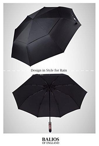 Balios® Regenschirm Mit Echtem Holzgriff -Optional | Auf Zu Automatik | Sturmfest & Windsicher | Taschenschirm Für Herren & Damen Schwarz (Designed in Britain) (Black with Luxury REAL Wood Handle) - 6