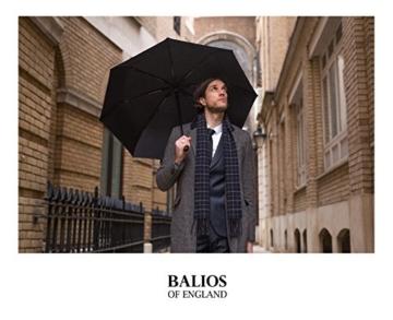 Balios® Regenschirm Mit Echtem Holzgriff -Optional   Auf Zu Automatik   Sturmfest & Windsicher   Taschenschirm Für Herren & Damen Schwarz (Designed in Britain) (Black with Luxury REAL Wood Handle) - 7