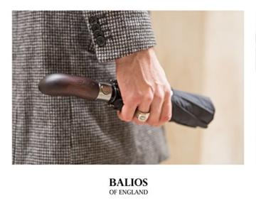 Balios® Regenschirm Mit Echtem Holzgriff -Optional   Auf Zu Automatik   Sturmfest & Windsicher   Taschenschirm Für Herren & Damen Schwarz (Designed in Britain) (Black with Luxury REAL Wood Handle) - 8